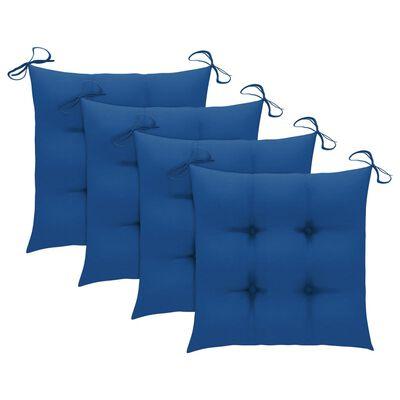 vidaXL havestole med blå hynder 4 stk. massivt teaktræ