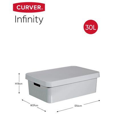 Curver opbevaringskasse med låg Infinity 3 stk. 30 l grå 240681