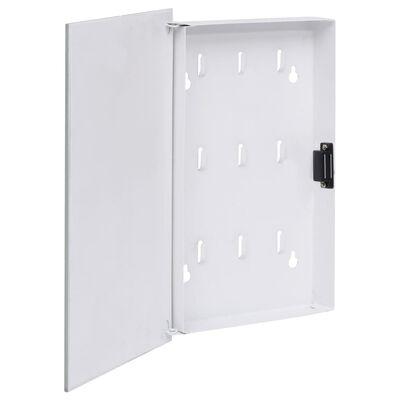 vidaXL nøgleskab med magnetisk tavle 30x20x5,5 cm hvid