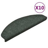 vidaXL selvklæbende trappemåtter 10 stk. 65x21x4 cm tuftet grøn