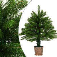 vidaXL kunstigt juletræ naturtro nåle 65 cm grøn