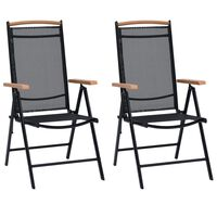 vidaXL foldbare havestole 4 stk. aluminium og textilene sort