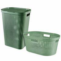 Curver Infinity 2 stk. vasketøjskurvesæt 40 l + 60 l grøn