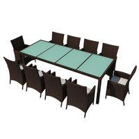 vidaXL udendørs spisebordssæt 11 dele med hynder polyrattan brun