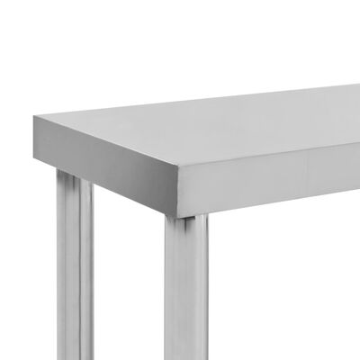 vidaXL tophylde i 2 niveauer til arbejdsbord 120x30x65 cm rustfrit stål