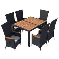 vidaXL udendørs spisebordssæt 7 dele polyrattan akacietræ sort