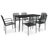 vidaXL udendørs spisebordssæt 7 dele bomuldstov og stål sort