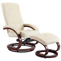 vidaXL lænestol med fodskammel cremefarvet kunstlæder