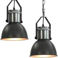 vidaXL loftslampe 2 stk. rund E27 grå