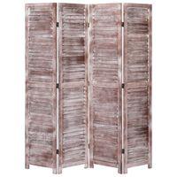 vidaXL 4-panels rumdeler 140 x 165 cm træ brun