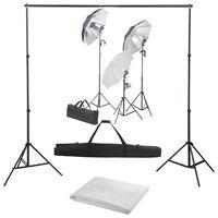 vidaXL fotostudieudstyr med lampesæt og baggrund