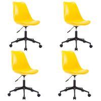 vidaXL drejelige spisebordsstole 4 stk. kunstlæder gul