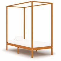 vidaXL sengestel til himmelseng 100x200 cm massivt fyrretræ gyldenbrun