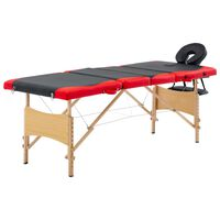 vidaXL foldbart massagebord 4 zoner træ sort og rød