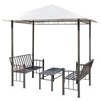 vidaXL havepavillon med bord og bænk 2,5x1,5x2,4 m