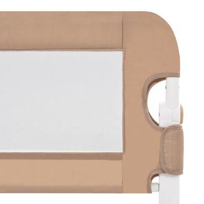 vidaXL sengegelænder til barneseng 102 x 42 cm polyester gråbrun