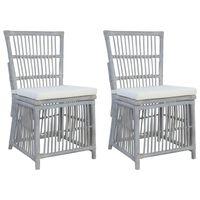 vidaXL spisebordsstole med hynder 2 stk. grå naturlig rattan