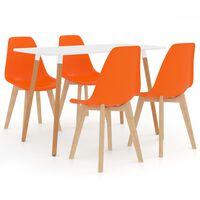 vidaXL spisebordssæt 5 dele orange