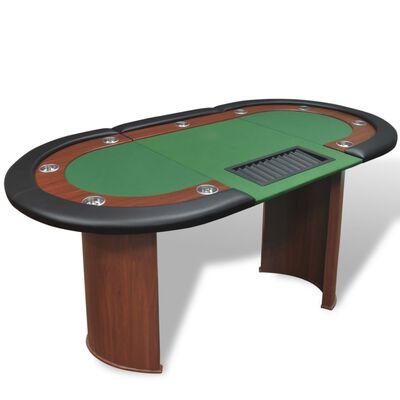 vidaXL 10 pers. pokerbord med dealerområde og jetonholder grøn