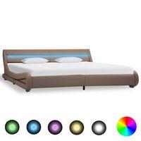 vidaXL sengestel med LED 180 x 200 cm kunstlæder cappuccinofarvet