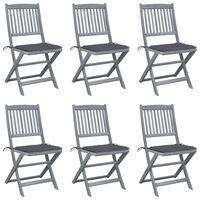 vidaXL foldbare udendørsstole 6 stk. med hynder massivt akacietræ