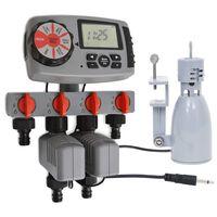 vidaXL automatisk vandingstimer med 4 stationer og regnsensor 3 V