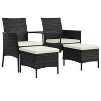 vidaXL 2-personers havesofa med bord og skamler polyrattan sort