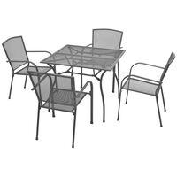 vidaXL udendørs spisebordssæt 5 dele stål antracitgrå