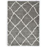 vidaXL shaggy tæppe Berber PP 160 x 230 cm grå og beige