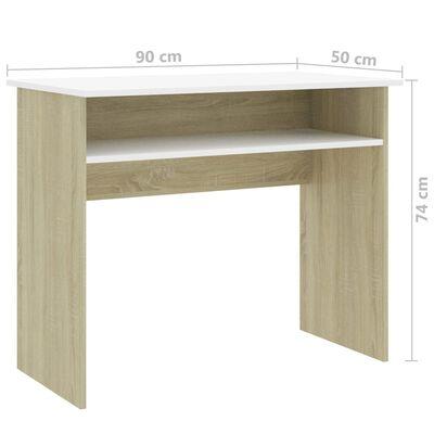 vidaXL skrivebord 90x50x74 cm spånplade hvid og sonoma-eg