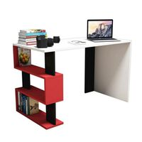 Homemania computerbord Snap 120x60x75 cm hvid sort rød