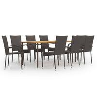 vidaXL spisebordssæt til haven 9 dele polyrattan brun