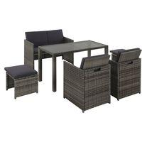 vidaXL udendørs spisebordssæt 6 dele med hynder polyrattan grå