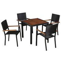 vidaXL udendørs spisebordssæt 5 dele polyrattan og akacietræ sort