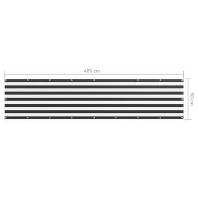 vidaXL altanafskærmning 90x400 cm oxfordstof antracitgrå og hvid