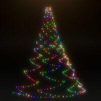 vidaXL LED-juletræ til væg med metalkrog 260 LED-lys 3 m flerfarvet