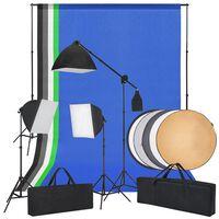 vidaXL fotostudiesæt med softbox-lys, baggrunde og en reflektor