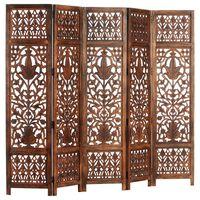 vidaXL 5-panels rumdeler håndskåret 200 x 165 cm massivt mangotræ brun