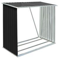 vidaXL brændeskur til haven 163x83x154 cm galvaniseret stål antracitgrå