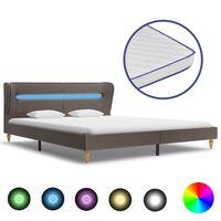vidaXL seng med LED og madras i memoryskum 160 x 200 cm stof gråbrun