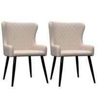 vidaXL spisebordsstole 2 stk. stof cremefarvet
