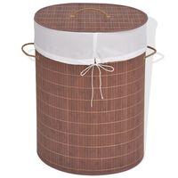 vidaXL vasketøjskurv bambus oval brun