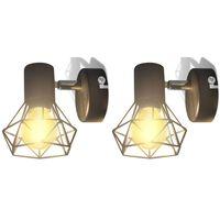 vidaXL 2 sorte væglamper, trådramme i industristil, m/pære med LED-glødetråd