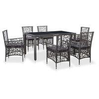vidaXL udendørs spisebordssæt i 7 dele polyrattan grå