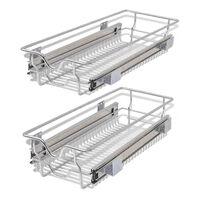 vidaXL udtrækkelige trådkurve 2 stk. sølvfarvet 300 mm