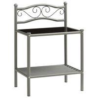 vidaXL sengeskab 43x33x65 cm metal og glas grå og sort