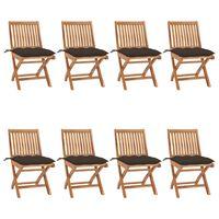 vidaXL foldbare havestole 8 stk. med hynder massivt teaktræ