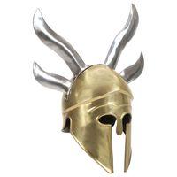 vidaXL græsk krigshjelm til rollespil antik stål messingfarvet