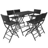 vidaXL foldbart udendørs spisebordssæt 7 dele stål polyrattan sort