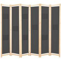 vidaXL 6-panelers rumdeler 240 x 170 x 4 cm stof grå